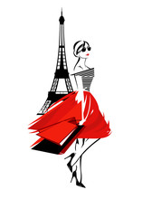 Beautiful Fashion Woman In Paris - French Fashionista With Shopping Bags And Eiffel Tower Vector Design