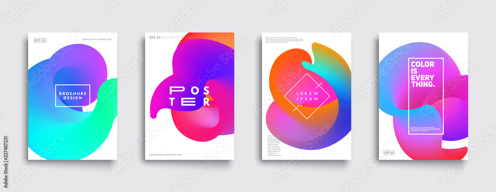 Fototapeta Colorful covers set. Abstract fluid shapes composition. Eps10 vector.