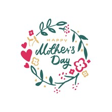 Greeting Card With Mother S Day With Wreath Of Flowers And Hearts
