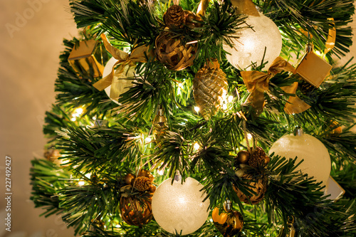Fototapety, obrazy: close-up view of a Christmas tree decorated