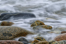 The Surf Washing Over Rocks At Boulder Beach, Acadia National Park, Maine