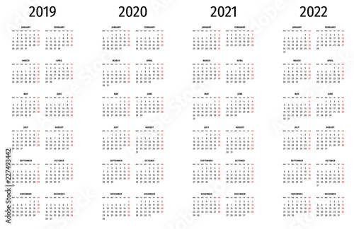 Fotografia  Simple calendar 2019, 2020, 2021, 2022