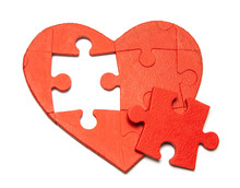 Red Heart Puzzle Isolated On White Background. Concept Second Half Of The Heart In Love For Valentine's Day Or Illness