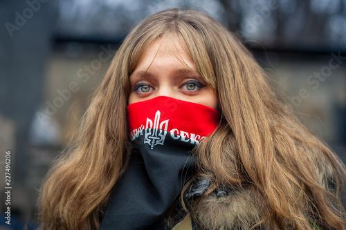 Foto op Plexiglas Kiev A girl from the right sector during demonstrations on EuroMaidan. Kiev