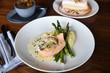 Salmon, asparagus, mashed potatoes