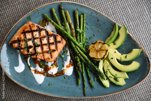 Salmon, asparagus, avocado - 227496822