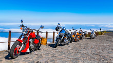 Spectacular Cruise And Panorama Views With Strongly Motorcycle Team. Having Fun Riding The Empty Road On A Motorcycle Tour