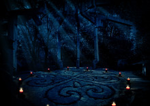 Paganist Temple In Night Forest