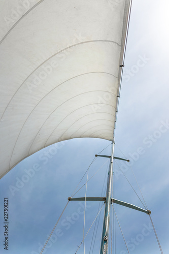 Garden Poster Sailing White sail of a sailing boat against sky. Sails of river sailing yacht in the wind against the blue sky