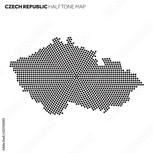 Fotografie, Obraz  Czech Republic country map made from radial halftone pattern
