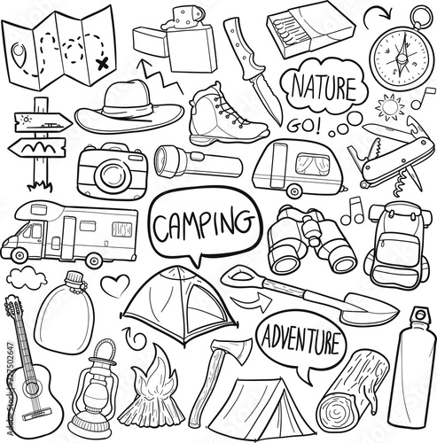 Papiers peints Cartoon draw Camping Mountain Traditional Doodle Icons Sketch Hand Made Design Vector