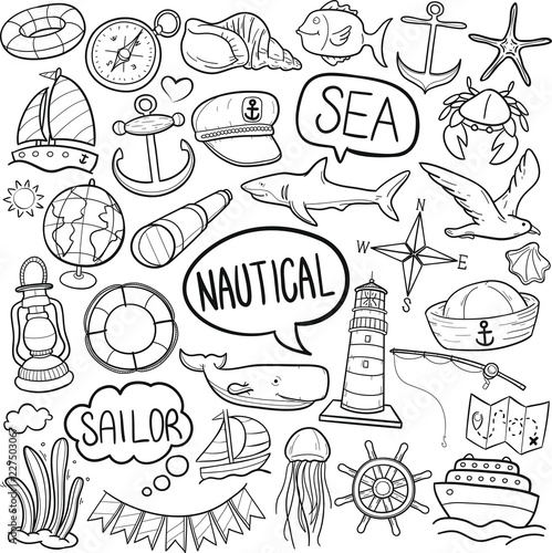 Papiers peints Cartoon draw Nautical Sea Life Traditional Doodle Icons Sketch Hand Made Design Vector