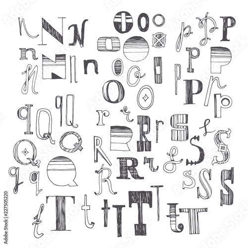 Hand Drawn Font With Several Variants Of Letters N O P Q