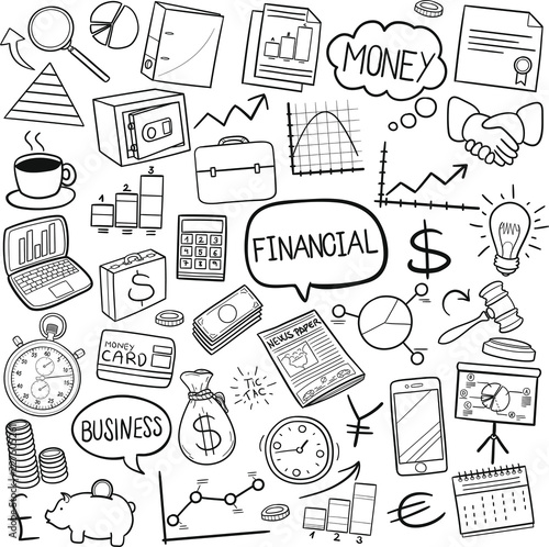 Papiers peints Cartoon draw Financial Business Traditional Doodle Icons Sketch Hand Made Design Vector