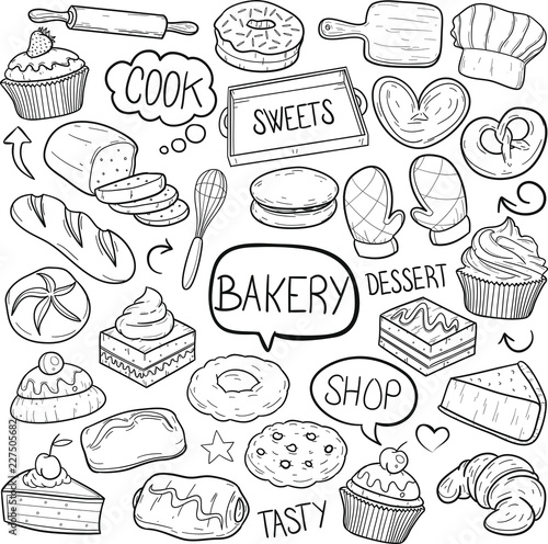 Obraz na plátně Bakery Pastry Shop Traditional Doodle Icons Sketch Hand Made Design Vector