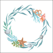 Marine Theme. Wreath On A White Background. Watercolor Handpainting.