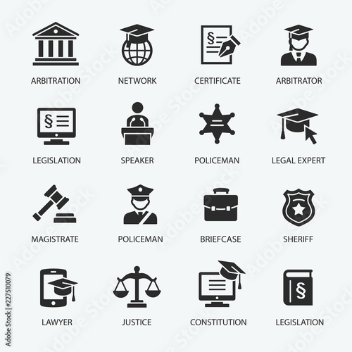 Fotografia, Obraz  Law & Justice icon set