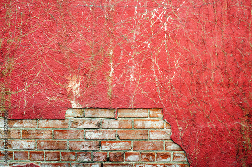 Poster Wand Damaged red wall