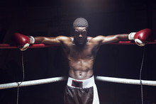 Portrait Of Male Boxer Leaning...