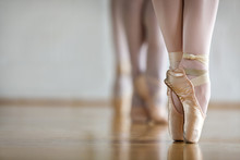 Low Section Of Woman Practicing In Ballet Studio
