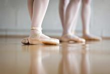 Low Section Of Female Dancer Practicing In Ballet Studio