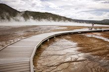 Wooden Path Over Hot Spring At Yellowstone National Park, USA