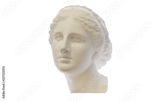 Gypsum head of ancient Greek young woman isolated on white background Fototapeta