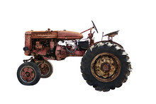 Rustic Old Red Tractor, Isolat...