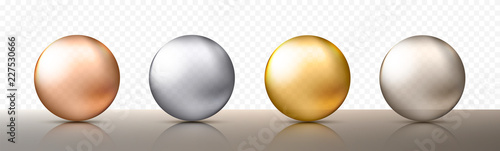 Fototapeta Four realistic transparent spheres or balls in different shades of metallic gold and silver color. Vector illustration eps10 obraz