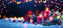 Christmas Decorations With Candles And Colored Lights Effects