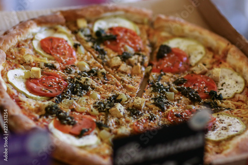 vegan pizza assortment in slice on plate