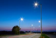 Modern Led Street Lights After Sunset