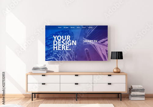 Smart Tv Hanging On Wall In Living Room Mockup