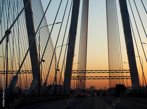 Staande foto Brug Obukhov bridge view at sunset
