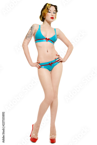 5edc7da82489 Pin-up girl in latex bikini: comprar esta foto de stock y explorar ...