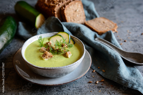 Creamy zucchini soup with croutons