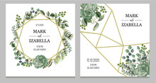Wedding Invitation With Leaves, Succulent And Golden Elements In Watercolor Style. Eucalyptus, Magnolia, Fern And Other  Vector Illustration.