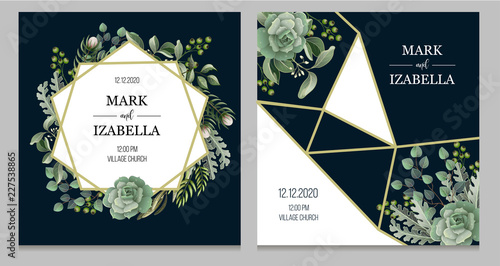 Fotografía  Wedding invitation with leaves, succulent and golden elements in watercolor style