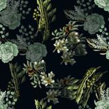 Wzór z eukaliptusa, magnolii, liści paproci i bukiety sukulentów. Modny rustykalny zioło tło wektor. - 227539224