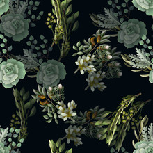 Seamless Pattern With Eucalypt...