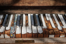 Old Piano Keyboard Closeup  - ...