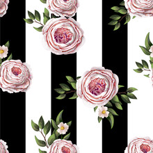 Pink English Roses Seamless Pa...