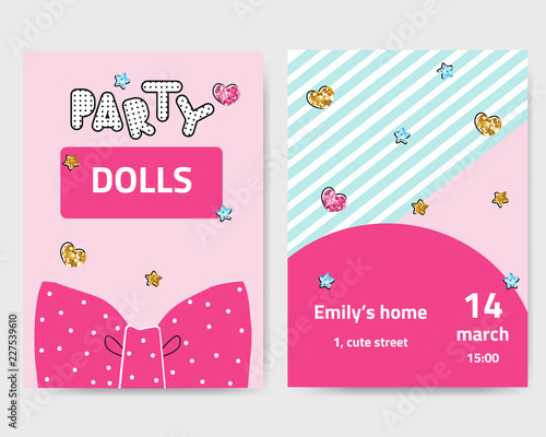 Photographie  Cute fashion girls party invitation with glitter elements