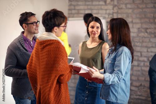 Obraz casual teamwork meeting -Presentation and training. - fototapety do salonu