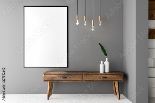 Gray living room, cabinet and poster Tablou Canvas