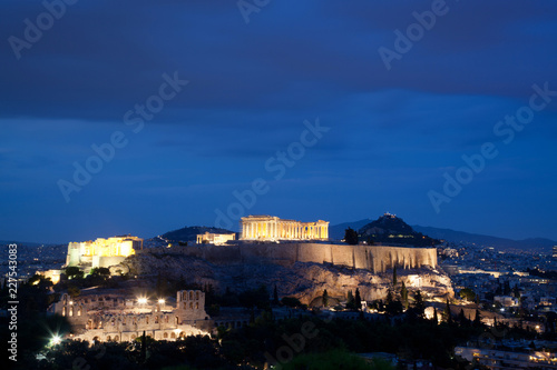 Staande foto Athene athens seen from Philopapou hill with views to Herodium , Acropolis and the Parthenon at blue hour, Attica, Greece