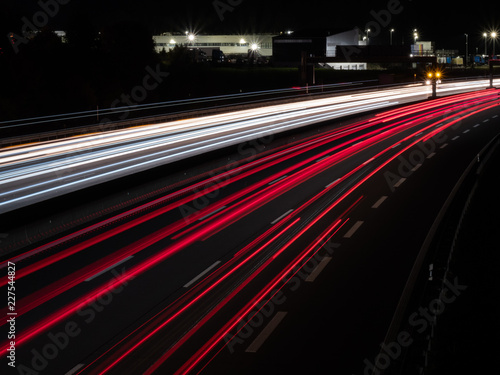 two colored highway at night with long exposure in bavaria germany
