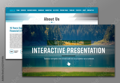 interactive pdf presentation layout with blue header buy this stock