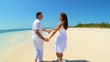 Happy Caucasian Couple on Dream Vacation