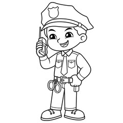Police Officer Boy Checking Information With Walky Talky BW